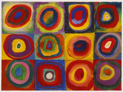 Kandinsky Color Study Squares with Concentric Circles